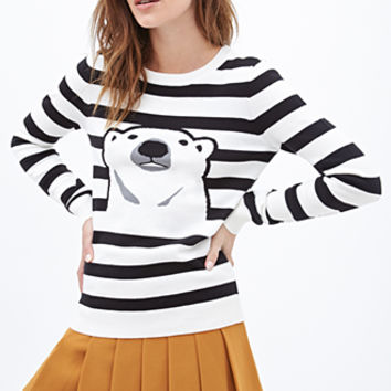 FOREVER 21 Striped Polar Bear Sweater Cream/Black
