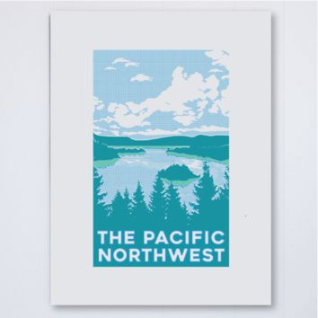 PNW Waterscape Halftone Art Print