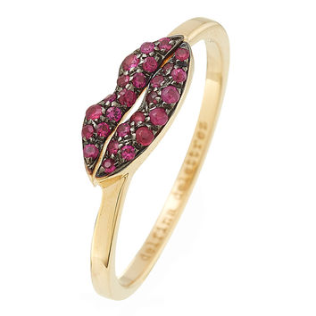 Delfina Delettrez - 18kt Yellow Gold Kiss Me Ring with Rubies