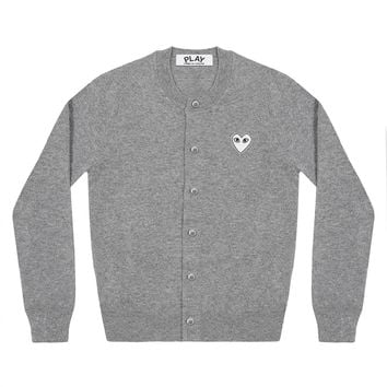 Play White Heart Ladies' Cardigan (Light Grey)