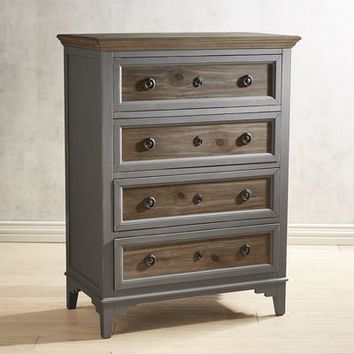 Weston Slate Tall Chest with Saddle Wood