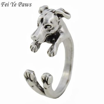 Fei Ye Paws Italian Greyhound Dog Ring Vintage Antique Whippet Animal Knuckle Rings