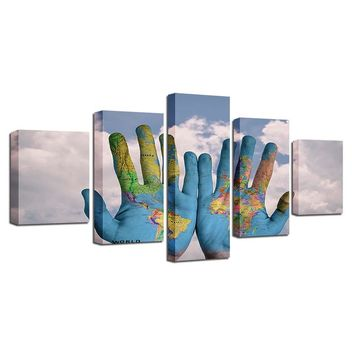 Wall Art HD Printed Painting 5 Pieces Blue Sky White Cloud Graffiti Hand World Map Pictures Modular Canvas Poster Decor Frame