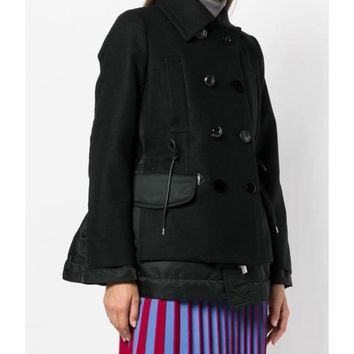 Sacai Military Coat - Black Long Sleeves Coat