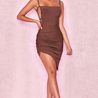 Clothing : Bandage Dresses : 'Meghan' Brown Side Boob Bandage Dress