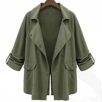 Army Green Notched Collar with Back Slit Long Sleeve Coat