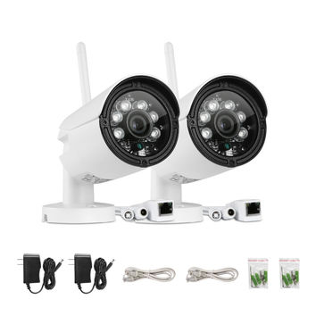 Sannce 2Pcs Wifi 720P Wireless Ip In/Outdoor Security Camera System W/32Gb Card