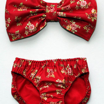 Red floral bow bandeau set - Made to order