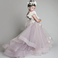 2016 New Lovely New Tulle Ruffled Handmade flowers Sweep Train Flower Girls Dresses for Weddings Girl's Pageant Dresses