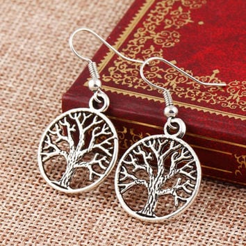 Superior 1Pair Tree Hollow Dangle Earings Eardrop Jewelry