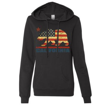 California USA Bear Flag Ladies Lightweight Fitted Hoodie