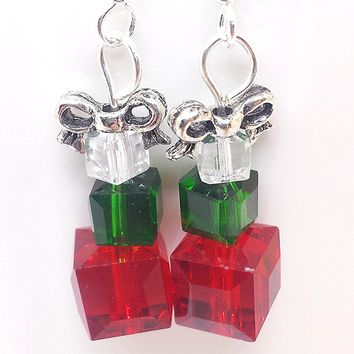Christmas holiday present dangle earrings with bow. Crystal and silver.