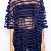 Glamorous Oversize T-Shirt in Sheer Stripe