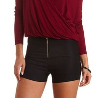 High-Waisted Shorts with Zipper by Charlotte Russe - Black