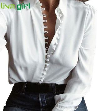 DCCKFS2 2017 Women New Hiking T-shirt Top Girls Ladies White Women Solid Long Sleeves Blouse Tops Femme Mujer Fitness Sexy Blouse Mar6YP