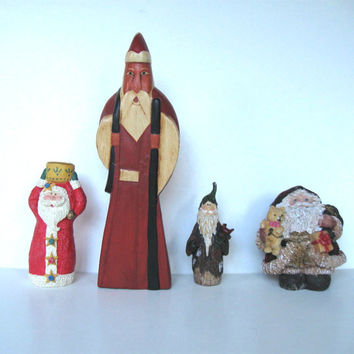Lot of 4 Vintage Santa Claus Figurines, Wood and Resin, Candle Holder, Home Decor, Christmas ornaments