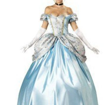 Womens Long Blue Cinderella Princess Ball Gown Fancy Dress Costume