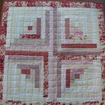 Spring Quilted Table Runner - Shabby Chic Pink Log Cabin Topper
