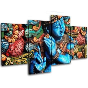 Without Framed 4 Pcs Large Hd Print Oil Painting On Canvas Lord Krishna Hindu Religion Wall Art Poster