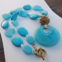 Turquoise and Sea Glass Necklace with Large Blue Agate Focal Stone