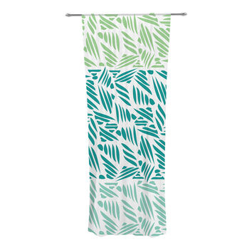 "Pom Graphic Design ""Bamboo"" Teal Green Decorative Sheer Curtains"