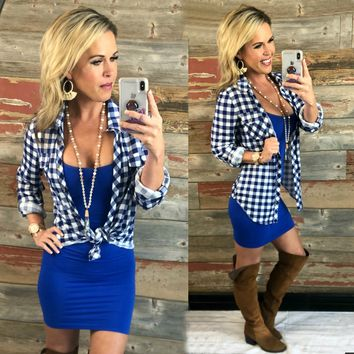 Penny Plaid Flannel Top: Royal/White