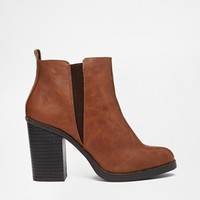 New Look Eddie Tan Heeled Ankle Boots
