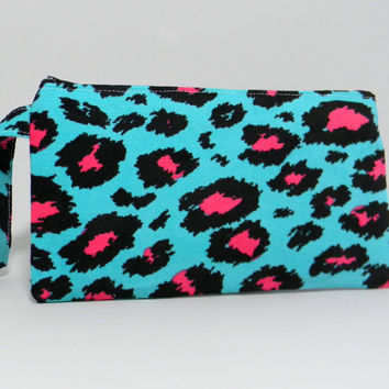 Clutch Purse - Neon Teal Pink Leopard Print - Animal Print - Cosmetic Bag