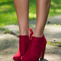 Steal The Show Booties, Burgundy