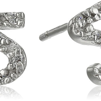 "Sterling Silver Initial Letter ""S"" Cubic Zirconia Stud Earrings"