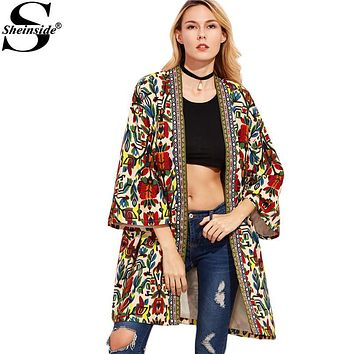 Sheinside European Trench Coat Women Basic Coats Colorful Open Front Outerwear With Tribal Print Tape Detail 3/4 Sleeve Coat