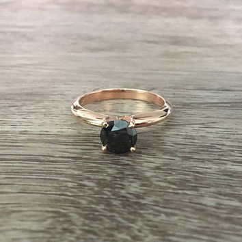 Black Diamond Solitaire Engagement Ring in 14k Rose Gold, 4 Prong Solitaire, 1.00 carat Black Diamond, Size US 5.5  (ring sizing available)
