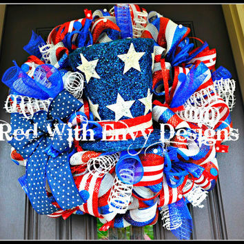 Lighted Fourth of July Wreath, 4th of July Wreath, Patriotic Wreath, Memorial Wreath, Star Wreath, Fourth of July Wreath, Wreath