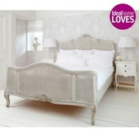 French Grey Painted Rattan Bed