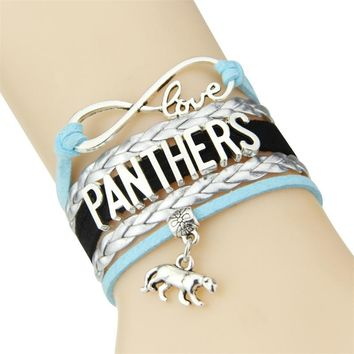 Infinity Love Carolina Panthers bracelet Football team Charm bracelet & bangles Sport women men jewelry sport gift
