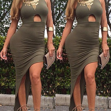 Green Halter Cut Out Dress