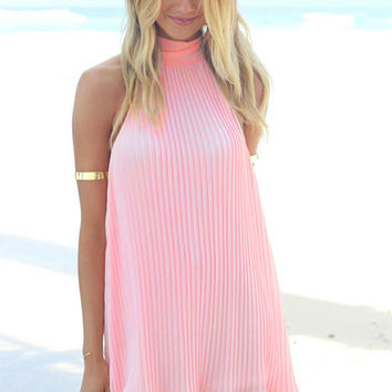 Coral Neon High-Neck Dress