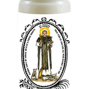 Saint Martin De Porres Patron of Animal Rescue & Equal Rights 8 Ounce Scented Soy Prayer Candle