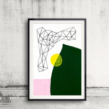 Forest Green and Blush Pink Abstract Geometric Wall Art, Minimalist, Color Block Art