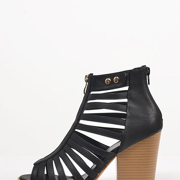 Caged Zipper Chunky Sandals