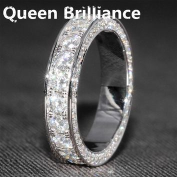 14K 585 White Gold 3 CTW 7mm Wide F Color Lab Grown Moissanite Diamond Wedding Band With Moissanite Accents for Women