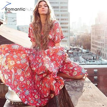 Romantichut Bohemian Maxi Dress Lotus Lovebird Half Moon Long Floral Gown Deep V Front Back Tassel Ties Hippie Gypsy Dress 2018