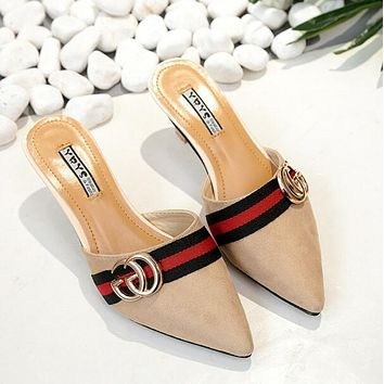 GUCCI Popular Ladies Summer Slippers Shoe Women Metal Double G Letter Decoration Pointed Half-Slippers Fashion Fine High Heels Beige