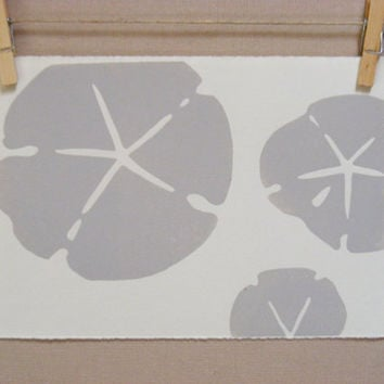 Sand Dollar  Hand Printed  Seashore by WoodenSpoonEditions on Etsy
