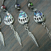 bear claw belly ring PICK ONE abalone belly ring feather belly ring bear belly ring  in boho tribal beach hipster style