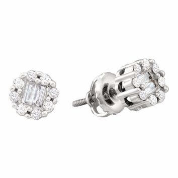 14kt White Gold Women's Round Baguette Diamond Cluster Screwback Stud Earrings 1-4 Cttw - FREE Shipping (US/CAN)
