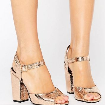Daisy Street Gold Dancing Heeled Sandals at asos.com