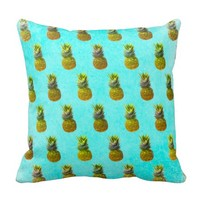 Pineapple Blue Pattern Throw Pillow
