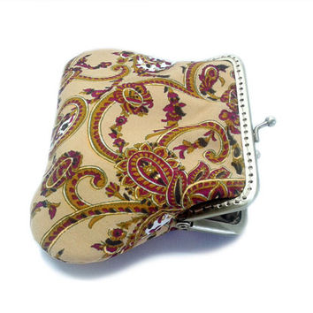 Mini Coin Purse - Paisley Framed Clutch Purse - Silver Frame