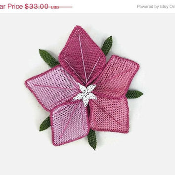 Mothers Day Sale Statement Crochet Large Flower Brooch - Pink  tones  - Turkish Oya Jewelry - Boho Chic Unique Lace Brooch Pin - Shawl pin